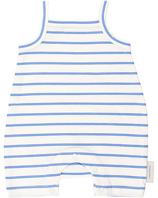 Tiny Cottons Sleeveless Small Stripes Short Onepiece - Elasticated Pima Cotton Short Rompers