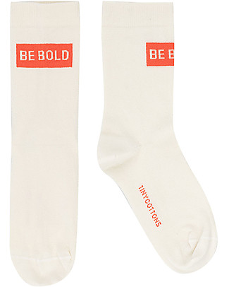 Tiny Cottons Smile Medium Socks, Off White/Red - Cotton Socks