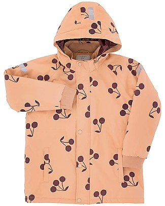"Tiny Cottons Snow  Jacket ""Big Cherries"", Dark  Nude/Plum - With ski pass sleeve pocket! Coats"