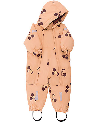 "Tiny Cottons Snow  One-piece ""Big  cherries"", Dark  nude/Plum - Warm and safe! Snowsuits"