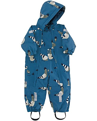 "Tiny Cottons Snow  One-piece ""Pigeons"", Light Navy/Light Grey - Warm and safe! Snowsuits"