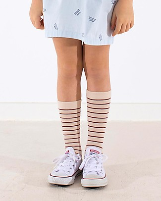 Tiny Cottons Stripes High Socks, Beige+Bordeaux Socks