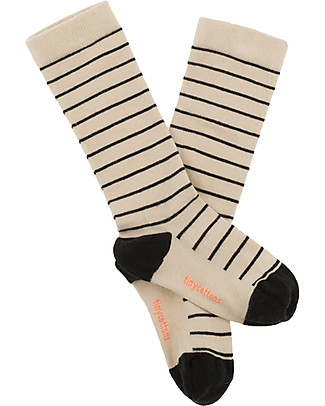 Tiny Cottons Stripes High Socks, Beige+Nero Socks