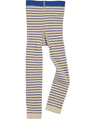 Tiny Cottons Stripes Leggings, Beige+Blue Leggings