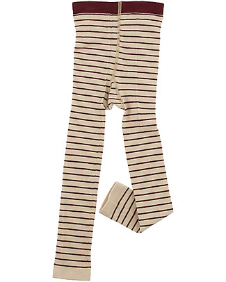 Tiny Cottons Stripes Leggings, Beige+Bordeaux Leggings