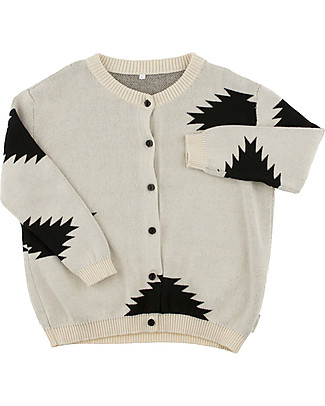 Tiny Cottons Unisex Big Folk Elements Cardigan, Beige+Black - Cotton and Merino wool Cardigans