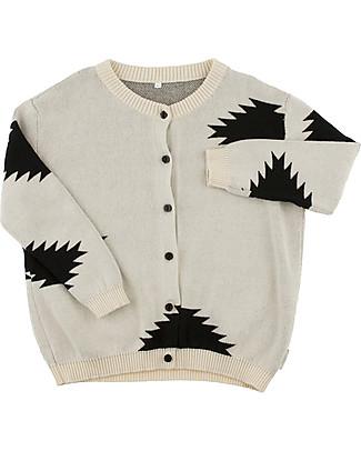 Tiny Cottons Unisex Big Folk Elements Cardigan, Beige+Black - Cotton and Merino wool Cardigans