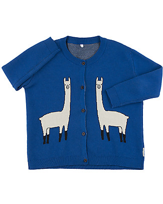 Tiny Cottons Unisex Llama Cardigan, Blue - Cotton and Merino wool Cardigans