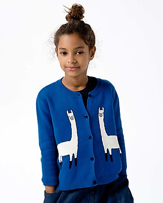 Tiny Cottons Unisex Llama Cardigan, Blue - Cotton and Merino wool Cardigans