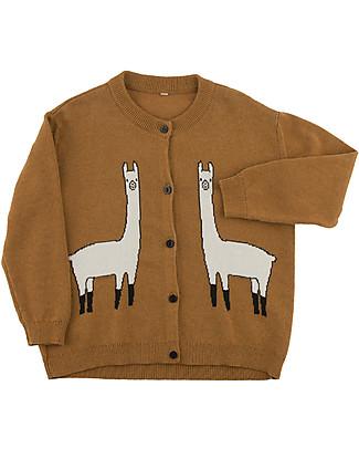 Tiny Cottons Unisex Llama Cardigan, Brown - Cotton and Merino wool Cardigans