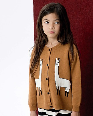 Tiny Cottons Unisex Llama Cardigan, Brown - Cotton and Merino wool Cardigans
