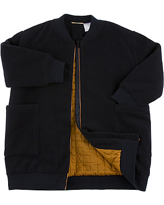Tiny Cottons Wool Bomber Coat, Navy Blue - Small back embroidery Coats