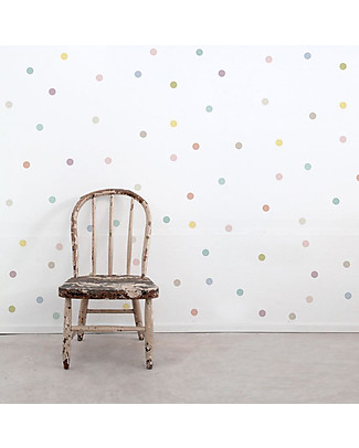 Tresxics 100 Fabric Wall Stickers, Dots - Pastel - Removable and reusable! Wall Stickers
