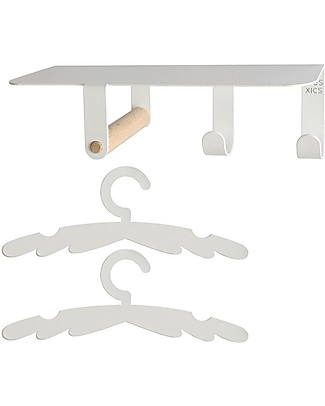 Tresxics Baby Essentials Shelf with Wing Hangers, White Shelves
