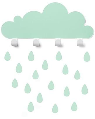 Tresxics Big Cloud Wall Hook & Rain Drops Stickers - Mint Wall Stickers