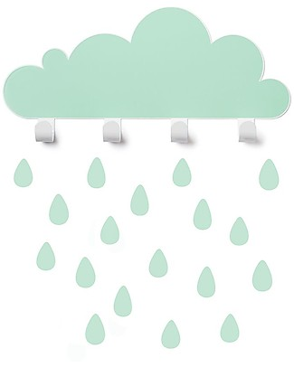 Tresxics Big Cloud Wall Hook & Rain Drops Stickers - Mint Wall Stickers