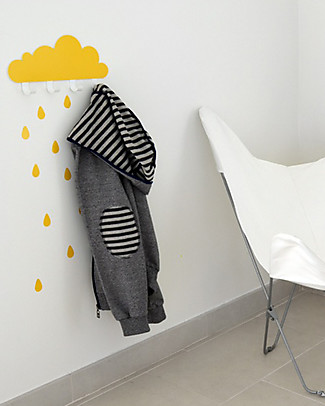 Tresxics Big Cloud Wall Hook & Rain Drops Stickers - Yellow Hangers & Hooks
