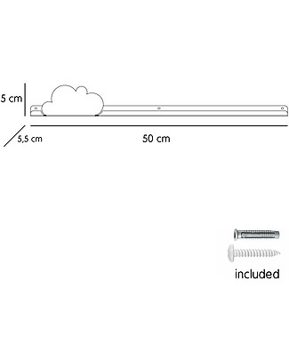 Tresxics Cloud Long Shelf and Removable Stickers - Pink Shelves