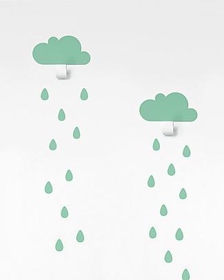 Tresxics Clouds Wall Hook & Rain Drops Stickers - Mint Hangers & Hooks