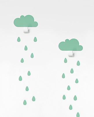 Tresxics Clouds Wall Hook & Rain Drops Stickers - Mint Hangers & Hooks