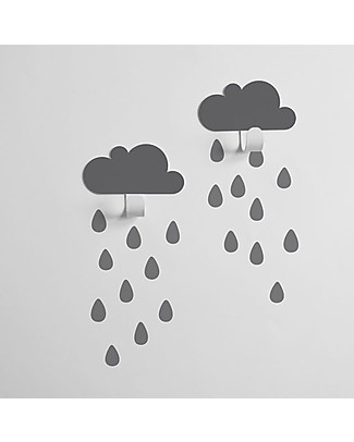 Tresxics Clouds Wall Hooks & Rain Drops Stickers - Grey Hangers & Hooks