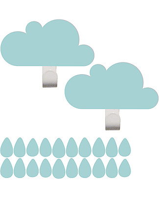 Tresxics Clouds Wall Hooks & Rain Drops Stickers - Light Blue Hangers & Hooks