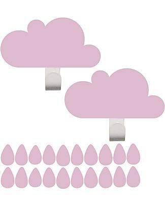 Tresxics Clouds Wall Hooks & Rain Drops Stickers - Pink Hangers & Hooks