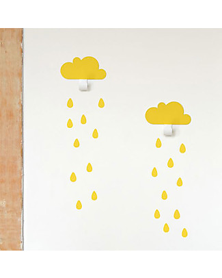 Tresxics Clouds Wall Hooks & Rain Drops Stickers - Yellow Hangers & Hooks
