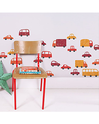 Tresxics Fabric Wall Stickers, 22 Vehicles - Red - Removable and reusable! Wall Stickers