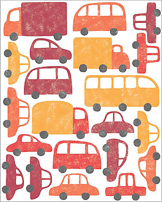 Tresxics Fabric Wall Stickers, Cars - Red - Removable and reusable! Wall Stickers