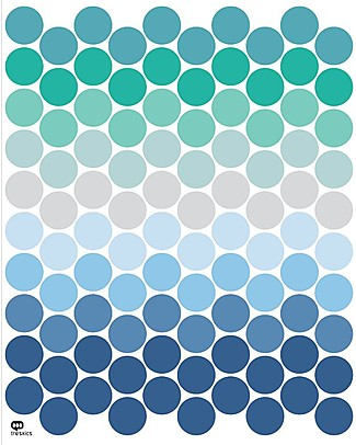 Tresxics Removable Wall Stickers Dots, Bluish - 100 stickers included! Wall Stickers