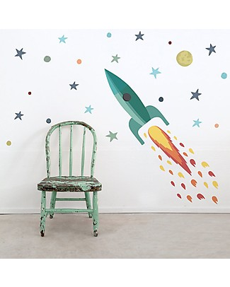 Tresxics Removable Wall Stickers Rocket and Planets Wall Stickers