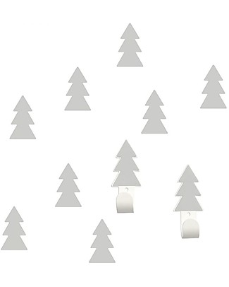 Tresxics Set Fir Trees Wall Hooks and Stickers, Grey Hangers & Hooks