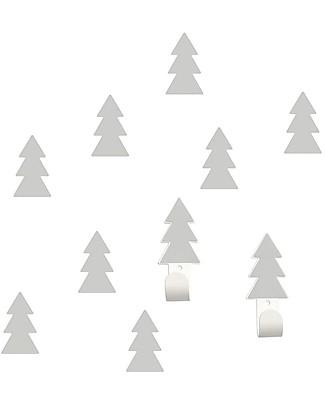 Tresxics Set Fir Trees Wall Hooks and Stickers, Grey Hangers & Hooks