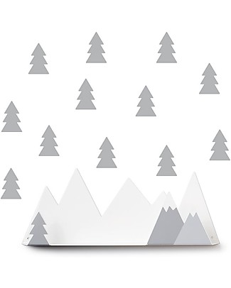 Tresxics Set Mountain Shelf and Fir Trees Removable Wall Stickers, Grey Shelves