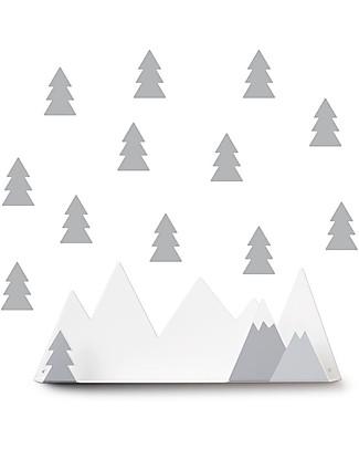 Tresxics Set Mountain Shelf and Fir Trees Removable Wall Stickers, Grey Shelves