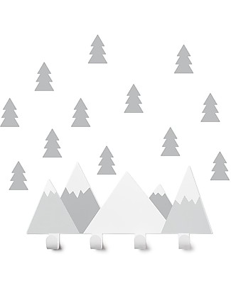 Tresxics Set Mountains Wall Hook and Fir Tree Stickers, Grey Hangers & Hooks