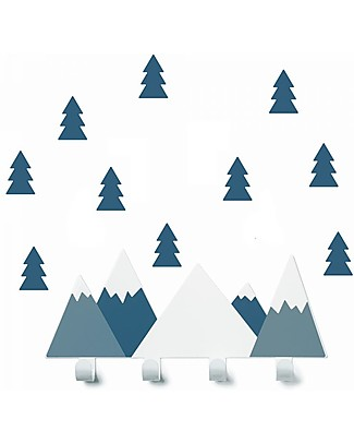 Tresxics Set Mountains Wall Hook and Fir Tree Stickers, Oil Blue Hangers & Hooks