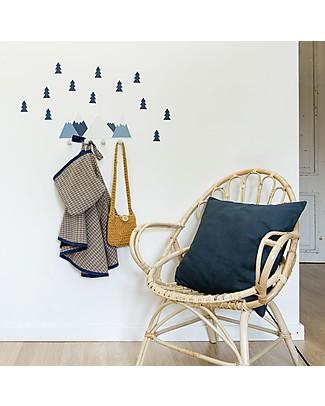 Tresxics Set Mountains Wall Hook and Fir Tree Stickers, Oil Blue Hangers & Hooks