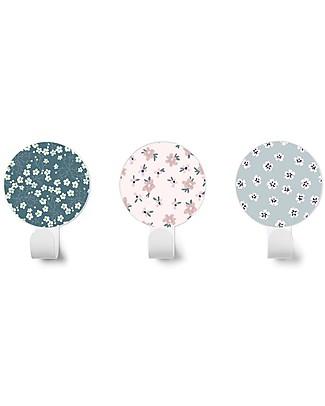 Tresxics Set of 3 Liberty Flowers Wall Hooks, Dark Blue/Pink/Sweet Blue Hangers & Hooks