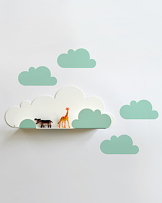Tresxics Shelf Clouds with Stickers - Mint Wall Stickers