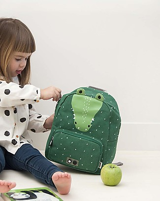 Trixie Backpack for Preschool, Mr Crocodile - Cotton (23x12x31cm) Small Backpacks