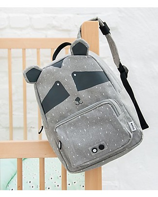 Trixie Backpack for Preschool, Mr Racoon - Cotton (23x12x31cm) Small Backpacks