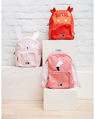 Trixie Backpack for Preschool, Mrs Flamingo - Cotton (23x12x31cm) Small Backpacks
