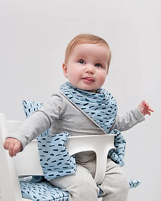 Trixie Bandana Bib, Blue Meadow - Cotton Bandana Bibs