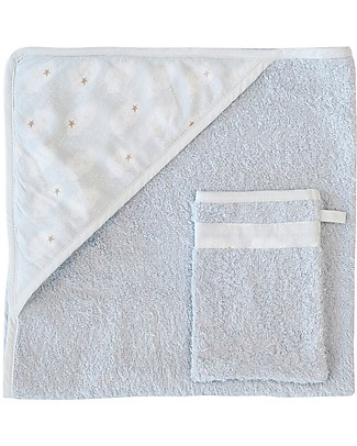 Trixie Hooded Towel & Washcloth, Clouds - 75x75cm Towels And Flannels
