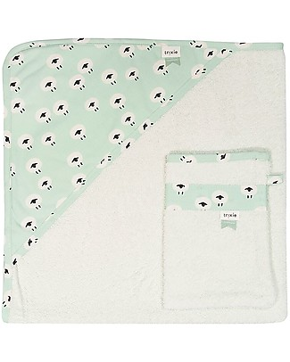 Trixie Hooded Towel & Washcloth, Sheep - 75x75cm Towels And Flannels