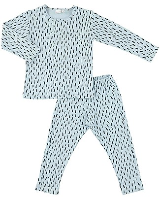 Trixie Long Sleeved Pyjiama 2 pieces, Blue Meadow - 100% Organic Cotton Pyjamas