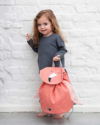 Trixie Mini Backpack for Primary School, Mrs Flamingo - Cotton (37x32cm) Large Backpacks