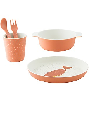 Trixie Tableware Set: Plate, Cup, Bowl, Fork&Spoon, Mr Fox - Bamboo Meal Sets